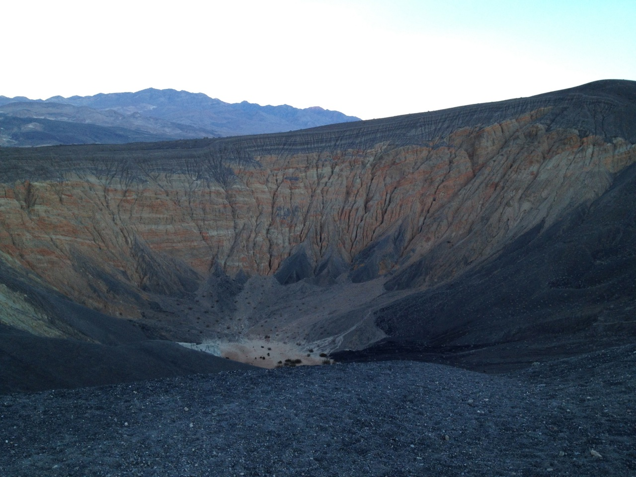 Ubehebe Crater. Not picture: high winds blowing up out of it, threatening to rip my phone/camera out of my hands.