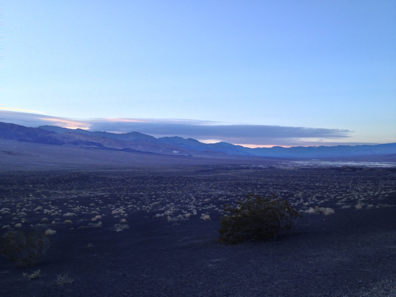 Plains to the northwest of the crater, just after sunset.