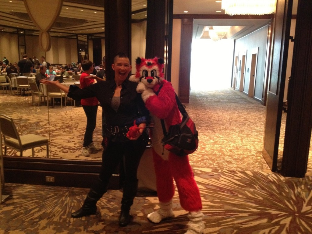 Myself, Dafydd, and Sardyuon, a Japanese acrobat/juggler who performs near Cirque du Soleil-level manipulation and hand balancing in fursuit.