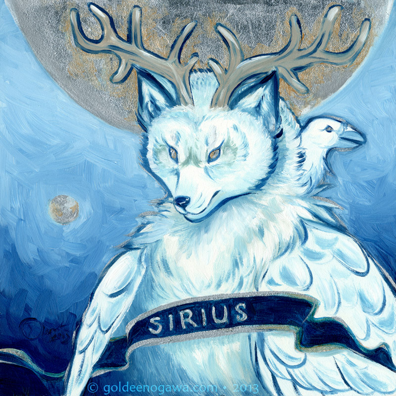 Sirius -- oil and silver leaf on gessobord. December 2013.