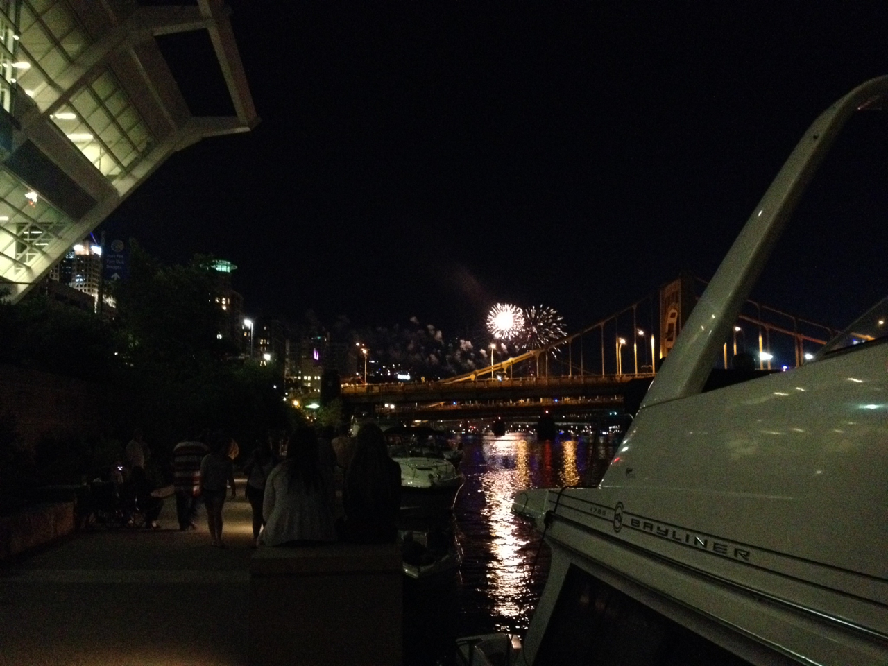 Fireworks over Confluence Point Park, 4th of July, as seen from the docks by the DLLCC on the Allegheny river.