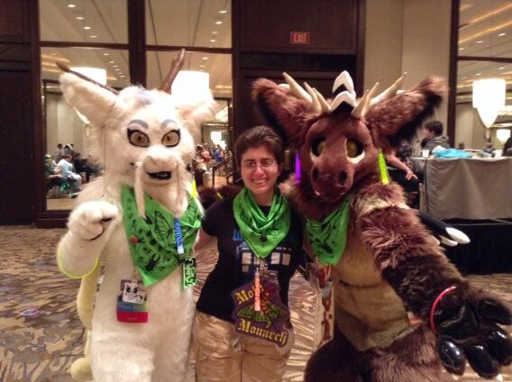 Left to right: Susan as Rin the Dragon, Mary Capaldi, and myself as Tachyon the Elk Angel Dragon. The bandanas were made after a design by Mary.