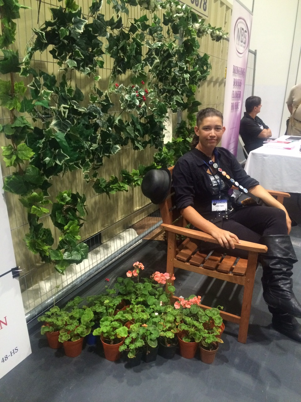 The author resting on the Diana Wynne Jones bench. Photo by the WM.