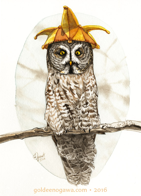 Great Gray Owl in a Yellow Star Jester Hat