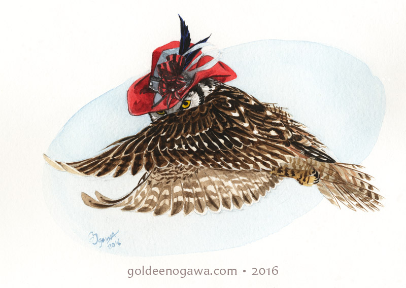 Northern Hawk Owl in a Scarlet Pinwheel Topper