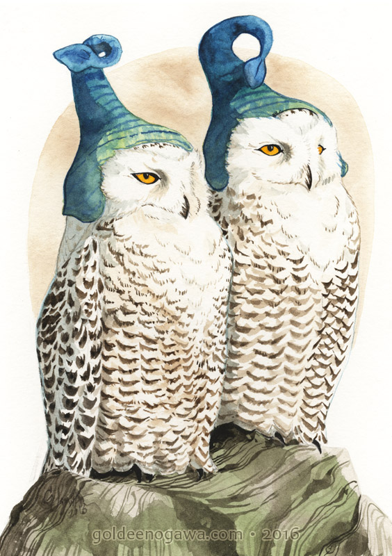 Snowy Owls in Pixie Hats