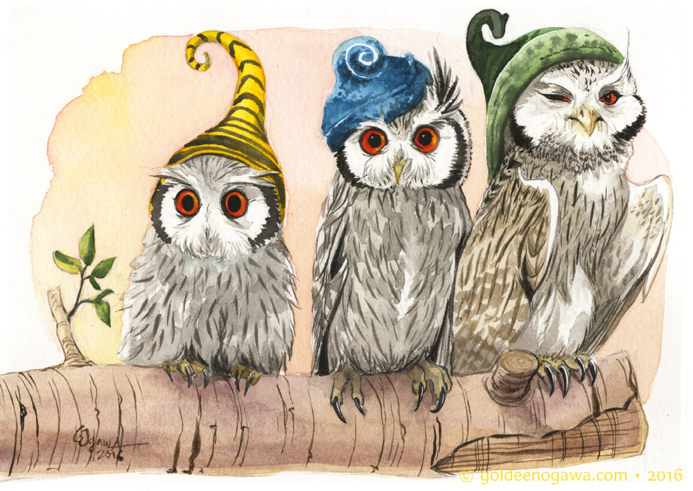 Whitefaced Owls in Assorted Strange Hours Hats